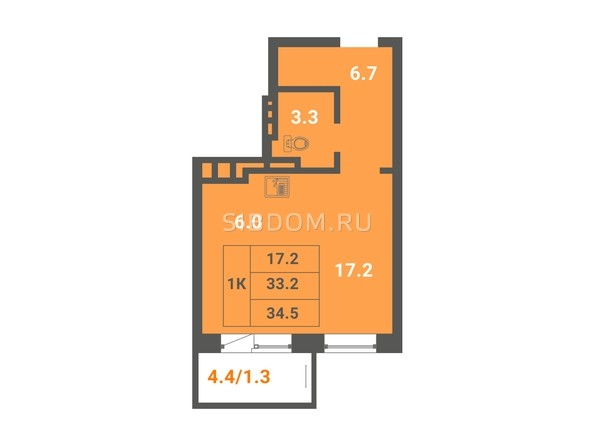 1-комнатная 34,5 кв.м