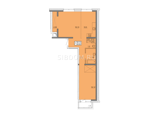 2-комнатная 59,98 кв.м