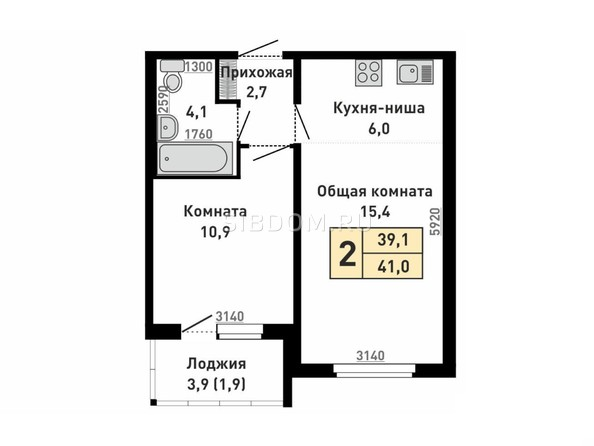 Планировка 2-комн 41 м²