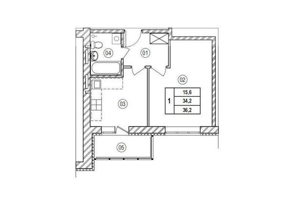Планировки Жилой комплекс ВЕРХНИЙ БУЛЬВАР, 7 дом, б/с а,б,в - Планировка однокомнатной квартиры 36,2 кв.м
