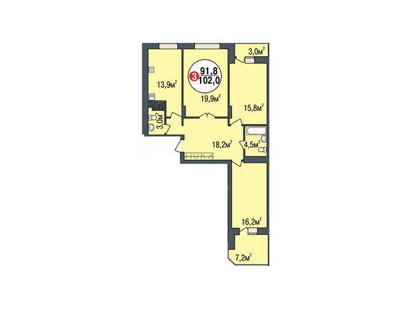 Планировки Жилой комплекс ПОКРОВСКИЙ, б/с 3, 4, 5 - Планировка трехкомнатной квартиры 102 кв.м