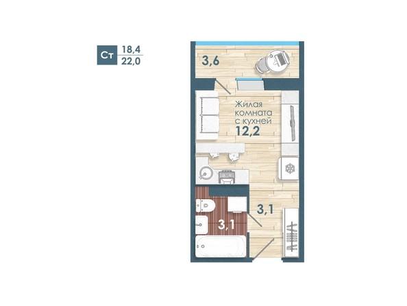 Планировка Студия 22 м²