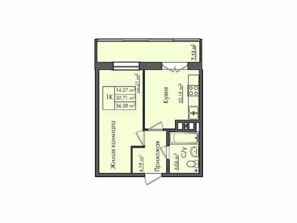 Планировки Жилой комплекс СИБИРЯЧКА - Планировка однокомнатной квартиры 36,28 кв.м