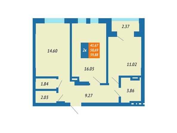 Планировка 2-комн 58,69 - 59,88 м²