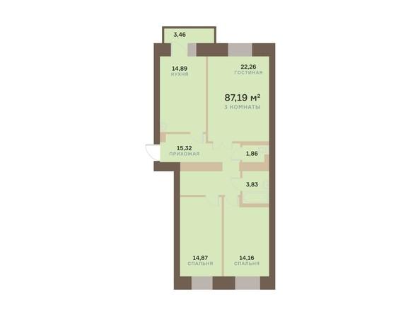 Планировка 3-комн 87,19 м²