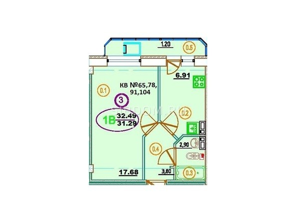 Планировка 1-комн 32,49 м²