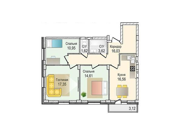 Планировки Жилой комплекс КрымSky, дом 7 - 3-комнатная 80,74 кв.м