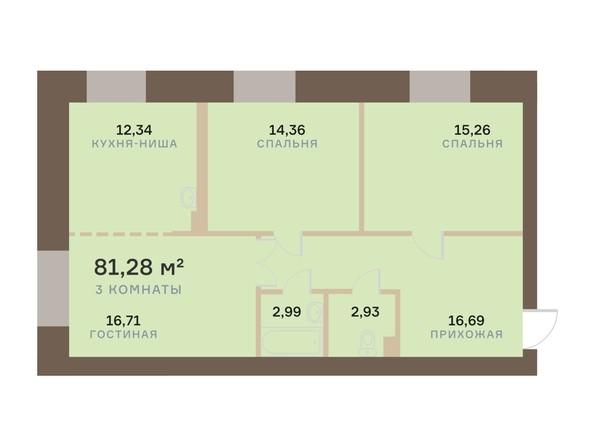 Планировка 3-комн 81,28 м²