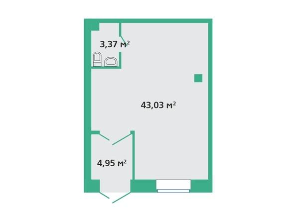 Планировка  43,03, 51,35 м²