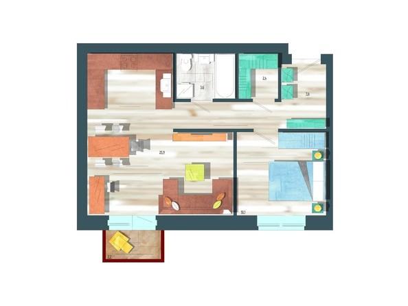 Планировки Жилой комплекс ЖИВЁМ эко-район, 10 квартал, дом 1 - Планировка двухкомнатной квартиры 50,3 кв.м