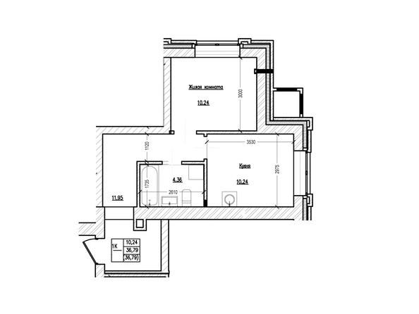 Планировка 1-комн 35,89, 36,79 м²