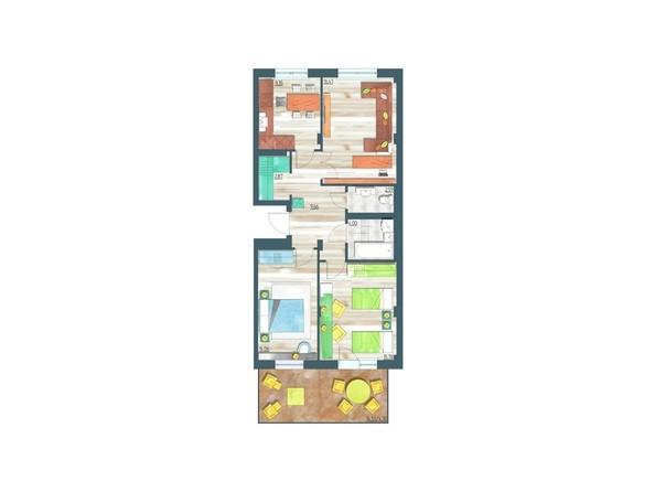 Планировки Жилой комплекс ЖИВЁМ эко-район, 3 квартал, дом 3 - Планировка трехкомнатной квартиры 79,02 кв.м
