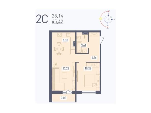 Планировка 2-комн 45,42 м²
