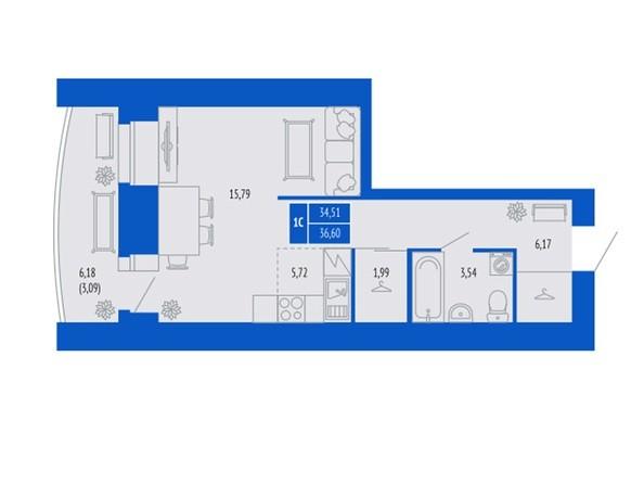 1-комнатная 34.51; 36.6; 37.6 кв.м