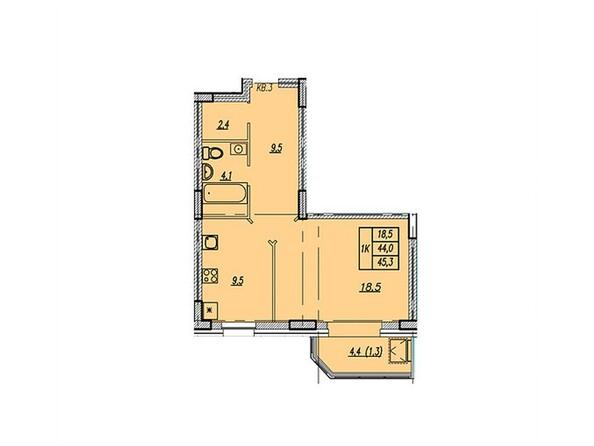Планировки Жилой комплекс НОВАЯ ВЫСОТА, дом 1 - Планировка однокомнатной квартиры 45,3 кв.м