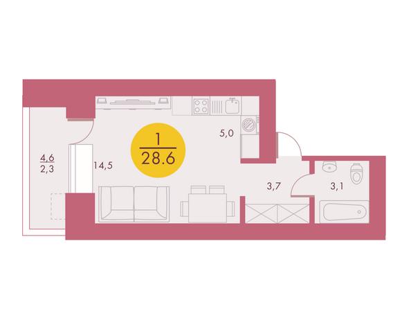 Планировки Жилой комплекс Арбан SMART (Смарт) на Шахтеров, д 1 - Планировка однокомнатной квартиры 28,6 кв.м