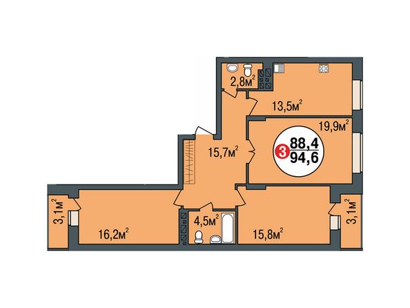 Планировки Жилой комплекс ПОКРОВСКИЙ, б/с 1, 2 - Планировка трехкомнатной квартиры 94,6 кв.м