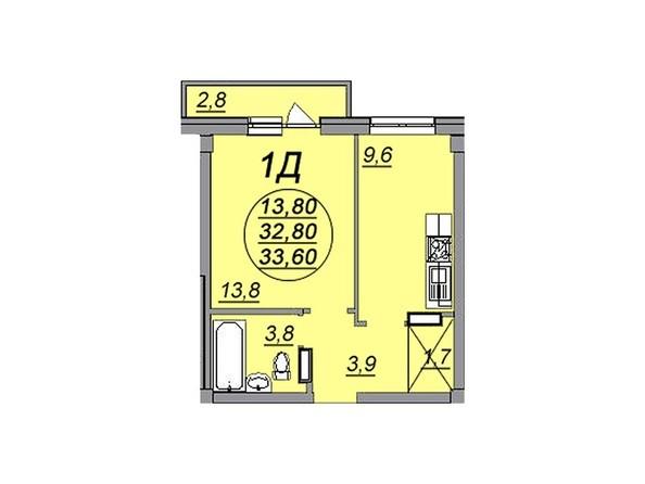 1-комнатная 33,6 кв.м