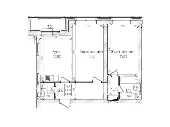 Планировки Жилой комплекс КРАСНЫЙ ПРОСПЕКТ, дом 4 - 2-комнатная 63,1 кв.м