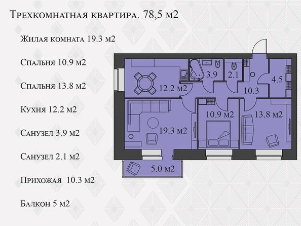 Планировки Жилой комплекс Львовская, 33а - 3-комнатная 78,5 кв.м