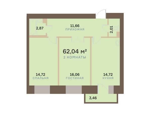 Планировка 2-комн 62,04 м²