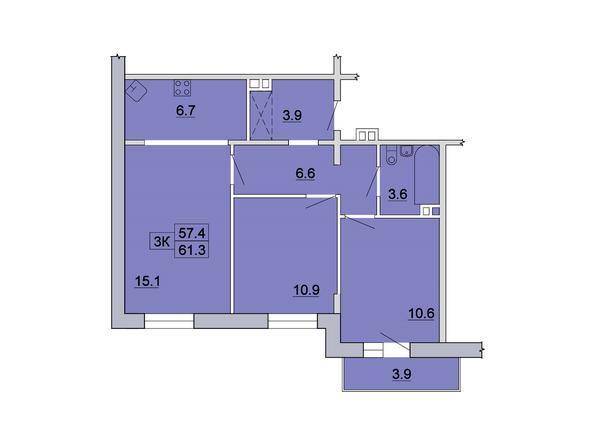 3-комнатная 61,3; 61,7 кв.м