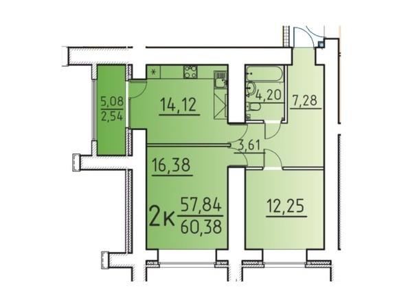Планировка 2-комн 57,84, 60,38 м²