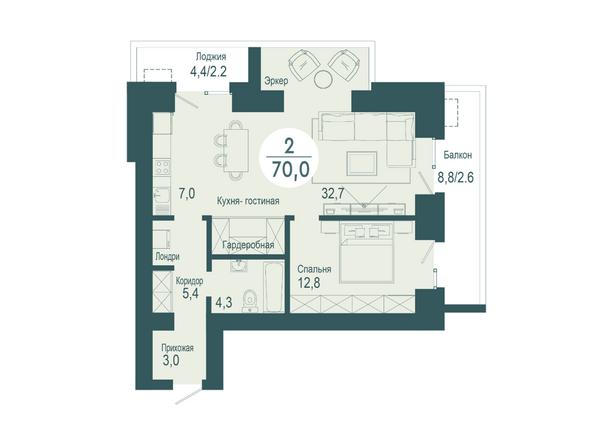 2-комнатная 70 кв.м