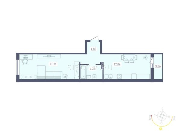 Планировка 1-комн 49,02 м²