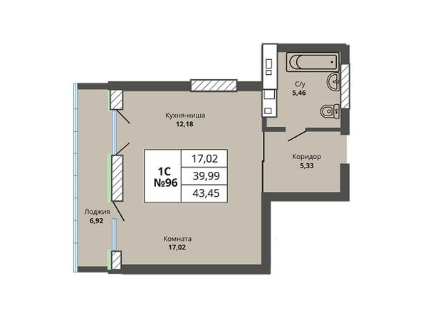Планировки Жилой комплекс PRIME HOUSE (Прайм хаус) - Планировка однокомнатной квартиры 39,99 кв.м
