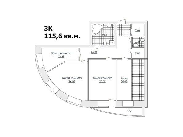 Планировки Жилой комплекс ЖЕМЧУЖИНА - Планировка четырёхкомнатной квартиры 115,6 кв.м