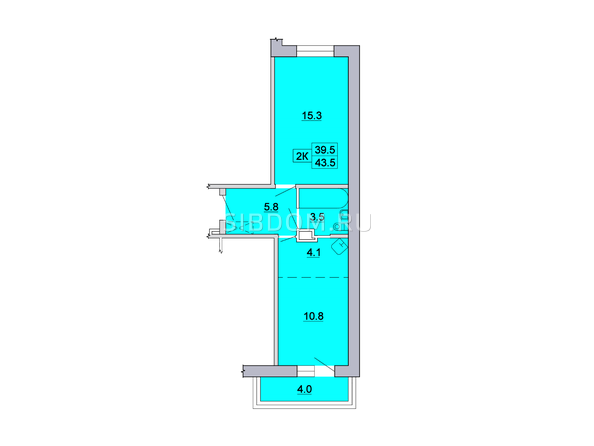 2-комнатная 43,5; 43,3; 43,6; 43,7 кв.м