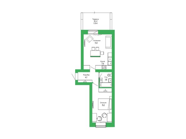 Планировка 2-комн 46,61 м²