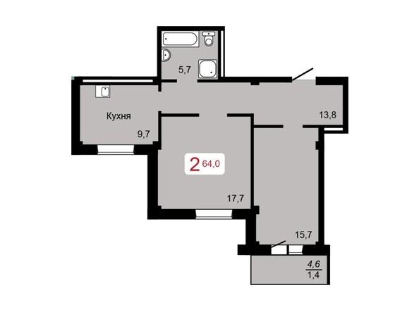 2-комнатная 64 кв.м