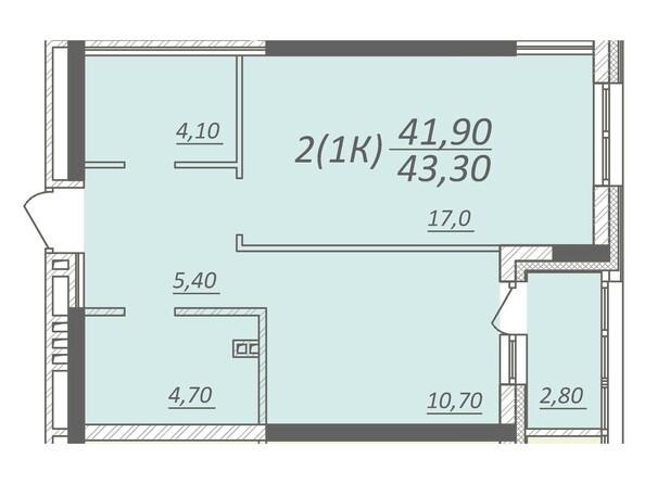 Планировка 1-комнатной квартиры 43,3 кв.м