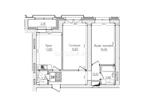 Планировки Жилой комплекс КРАСНЫЙ ПРОСПЕКТ, дом 4 - 2-комнатная 61,4 кв.м
