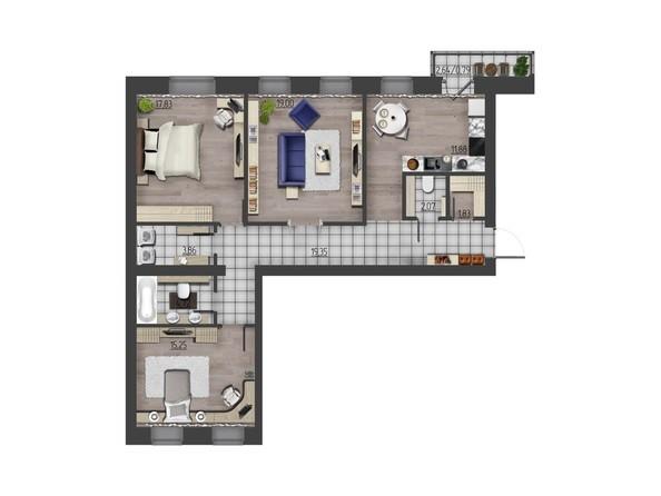 Планировки Жилой комплекс ПРЕОБРАЖЕНСКИЙ, дом 9 - 3-комнатная 96,58 кв.м