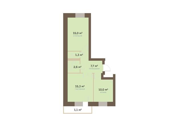 Планировка двухкомнатной квартиры 53,38 кв.м