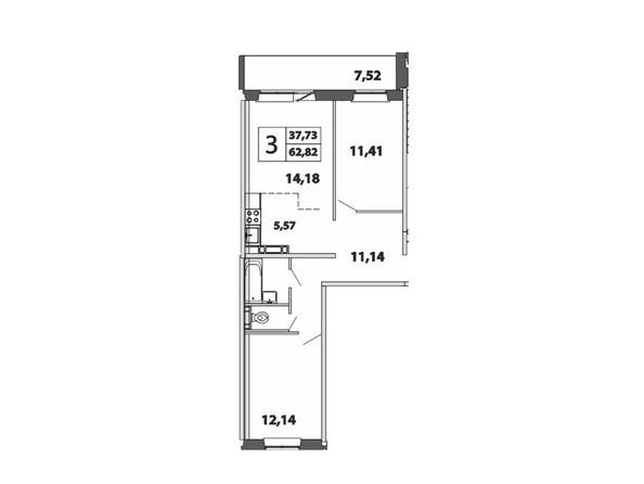 3-комнатная 62.82 кв.м