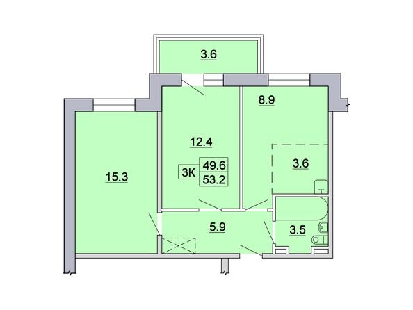 3-комнатная 53,2; 53,1; 53,4 кв.м