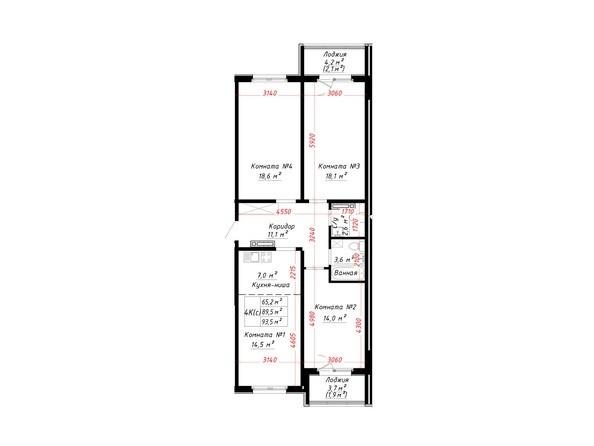 Планировка 4-комн 93,5 м²
