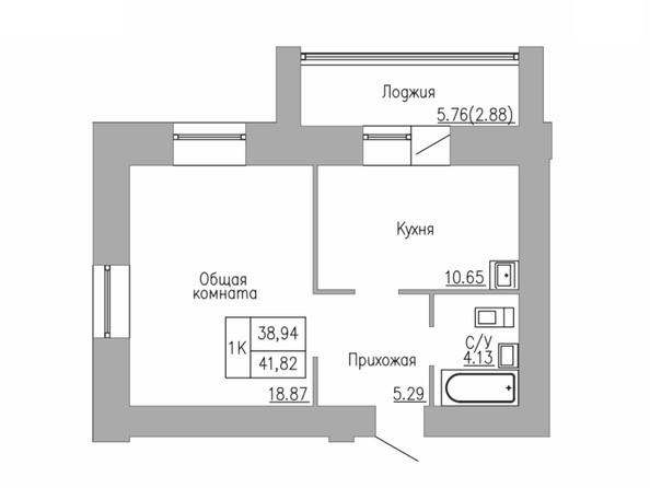 1-комнатная 38 - 42 кв.м