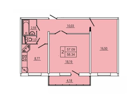 Планировка 2-комн 58,34 м²