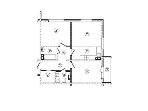 Планировки ВЕРХНИЙ БУЛЬВАР-2, дом 60, корпус 1 - 3-комнатная 65,4 кв.м