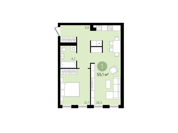 1-комнатная 55,1 кв.м