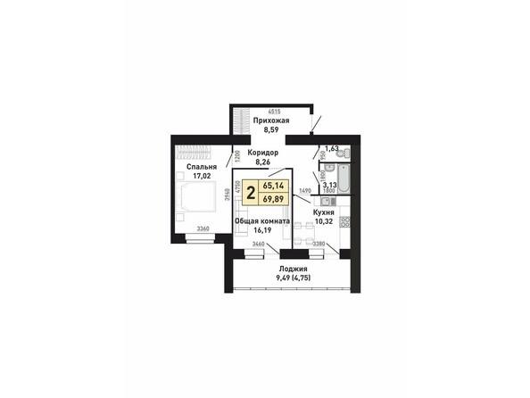 Планировки Жилой комплекс КРАСНООБСКИЙ, дом 230 - Планировка двухкомнатной квартиры 65,14 кв.м