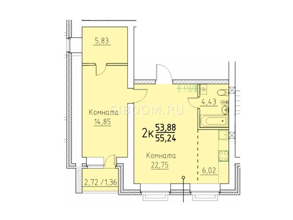 2-комнатная 53.68; 55.24 кв.м