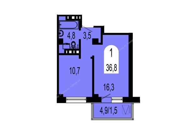 Планировки Жилой комплекс ТИХИЕ ЗОРИ, дом 1 (Красстрой) - Планировка однокомнатной квартиры 36,8 кв.м