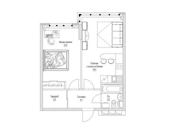 Планировка 1-комн 46,4 м²