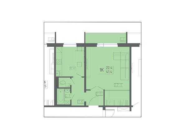 Планировки КОЛИБРИ  - Планировка однокомнатной квартиры 41,4 кв.м